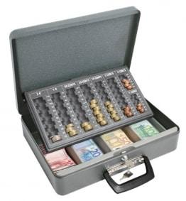 Geldkassette mit 2 Tragegriffen und 4-Fächern für Geldscheine, 37 x 29 x 11 cm, grau