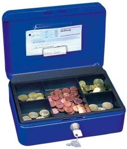 Geldkassette mit 5 -Fächer-Münzeinsatz, 20 x 16 x 9 cm, schwarz