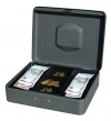 Geldkassette mit Zahlenkombinationsschloss, 30 x 24 x 9 cm, dunkelgrau - 1